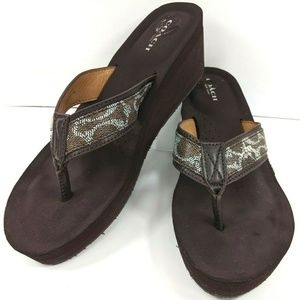 Coach Jolene Women's Wedge Signature Sandals Brown